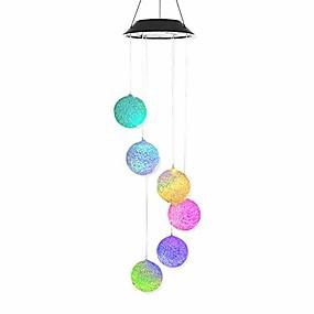رخيصةأون LED الأضواء الشمسية-1 قطع الشمسية الجسيمات المجال الشمسية بدعم الصمام الرياح تتناغم الطنان ريح الرنين اللون المتغيرة للماء للحزب الباحة يارد حديقة ديكور