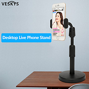 cheap Table Top-VESKYS Desk Mobile Phone Holder Stand For iPhone iPad Adjustable Metal Desktop Tablet Holder Universal Table Cell Phone Stand