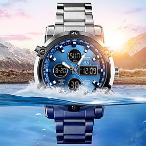 Недорогие Фирменные часы-ASJ Муж. Спортивные часы Наручные часы электронные часы Японский Кварцевый Нержавеющая сталь Белый 30 m Защита от влаги Секундомер ЖК экран Аналого-цифровые Мода Нарядные часы - Синий Белый Черный