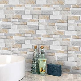 hesapli Dekorasyon Etiketleri-20x10 cm x 9 adet sıcak mermer duvar çıkartmaları retro yağ geçirmez su geçirmez karo duvar kağıdı mutfak banyo zemin duvar ev dekorasyon için