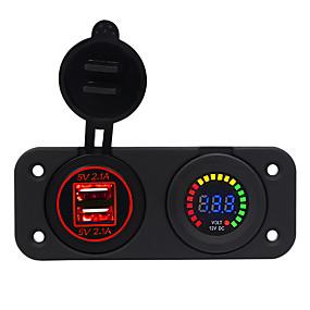 Недорогие Автоэлектроника-Автомобильное зарядное устройство на 5 В / центральная консоль 4.2a с двойной диафрагмой USB красный / синий / зеленый Вольтметр с цветным экраном 12 В / ip65
