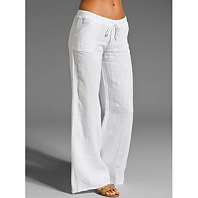 cheap Women's Pants-Women's Basic Wedding Daily Going out Loose Chinos Pants Solid Colored White Black Blue S M L