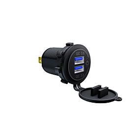 Недорогие Автомобильные зарядные устройства-ZH-1026D DC12V-24V мотоцикл автомобильное зарядное устройство / сенсорный выключатель с одной диафрагмой Cual QC3.0 быстрая зарядка USB синий красный зеленый 60 см линия / IP66 / материал для защиты
