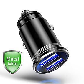 Недорогие Автомобильные зарядные устройства-Мини Dual USB-порты Быстрая зарядка QC 3.0 металл Автомобильное зарядное устройство автомобиля USB быстрое зарядное устройство быстрое зарядное устройство автомобильное зарядное устройство для Iphone