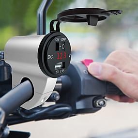 Недорогие Запчасти для мотоциклов и квадроциклов-5 V стальной кронштейн для пистолета серебро / черный одиночный USB с выключателем с вольтметром красного зарядного устройства мотоцикла