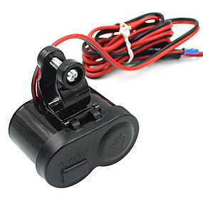 cheap Motorcycle & ATV Parts-5V Motorcycle Car Charger / USB Lighter with Switch Faucet and Cigarette Lighter / Black / Environmental Protection Material / Easy Installation