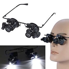 abordables Accessoires de Camping & Randonnée-20X LED loupe lunettes loupe lunettes avec des outils de réparation de montre de bijoux de lumière LED