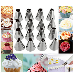 cheap Kitchen & Dining-Stainless Steel Decorating Mouth 16 Piece Set With Converter And Decorating Bag Set Cookie DIY