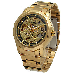 Недорогие Фирменные часы-WINNER Муж. Часы со скелетом Наручные часы Механические часы С автоподзаводом Нержавеющая сталь Серебристый металл / Золотистый 30 m С гравировкой Аналоговый Классика На каждый день Винтаж -