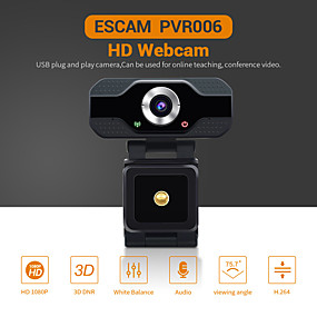 cheap Security & Safety-ESCAM PVR006 HD 1080P Webcam 2 mp USB2.0 Web Camera Wide Compatibility Auto Focus Computer Laptop Webcams Camera  90° Degree Wide Angle Business Conference Webcam With Noise Reduction Microphone