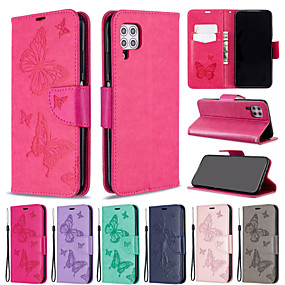 cheap Huawei-Case for Huawei scene graph Huawei P40 P40 Pro P40 Lite P40 Lite E Solid color butterfly embossed embossed PU leather material card holder lanyard all-inclusive anti-fall mobile phone case BF