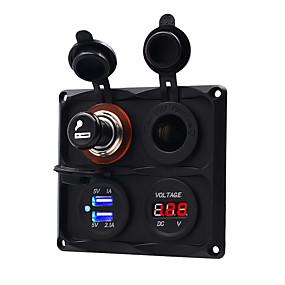 Недорогие Автомобильные зарядные устройства-5 В мотоцикл / автомобильный прикуриватель измеритель напряжения двойная комбинация usb панель с четырьмя отверстиями / ip65 / черная / материал для защиты окружающей среды
