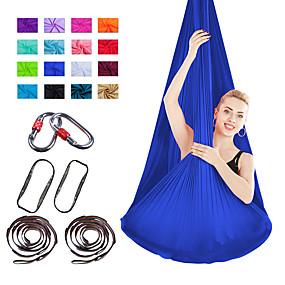 baratos Exercício e Fitness-Conjunto de balanço de ioga aérea Kit de rede / estilingue para ioga 7 pcs Correias de extensão Esportes Náilon Aereo Yoga Exercícios de Inversão Anti-Gravidade Ultra Forte antidesgaste Terapia de
