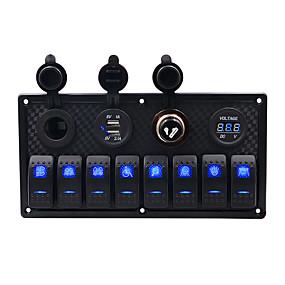 Недорогие Автомобильные зарядные устройства-5v автомобильное зарядное устройство / 5-контактный двойной свет 8-разрядный переключатель прикуривателя сиденья двойной usb вольтметр комбинированная панель прикуривателя / ip65 / черный / материал