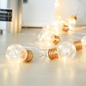 povoljno LED svjetla u traci-ip65 4m 10 žarulja vodio festoon party svjetla vijenac vijenac svjetla za svadbene događaje svjetla vrtna zabava bar bistro dekor rasvjeta dekor toplo bijela rasvjeta aa baterija