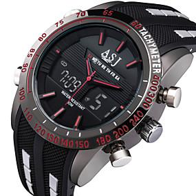 Недорогие Фирменные часы-ASJ Муж. Спортивные часы Модные часы электронные часы Японский Цифровой Стеганная ПУ кожа Черный 30 m Защита от влаги Будильник Секундомер Аналого-цифровые Красный Синий Белый / Нержавеющая сталь