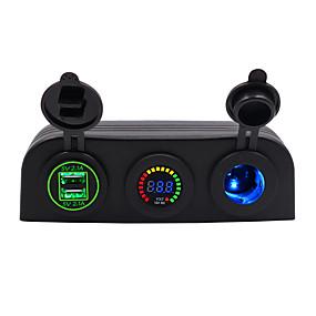 Недорогие Автоэлектроника-Автомобильное зарядное устройство 5 В / 3-луночная палатка 4.2a с двойной диафрагмой USB синий красный зеленый / IP65 / DC12V DC24V Универсальное напряжение / материал для защиты окружающей среды