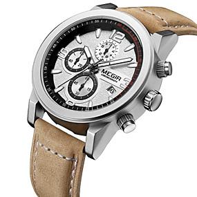 Недорогие Фирменные часы-MEGIR Муж. Наручные часы Авиационные часы Кварцевый Классика Календарь Кожа Аналоговый - Белый Черный Черный / коричневый