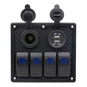 Недорогие Автомобильные зарядные устройства-Автомобильное зарядное устройство на 5 В / прикуриватель / 5-контактный двойной светильник 4-позиционный переключатель Подставка для сигарет с двойной комбинированной панелью USB / ip65 / черная /