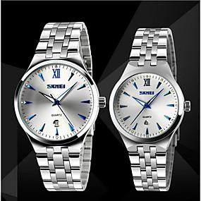 Недорогие Фирменные часы-SKMEI Для пары Нарядные часы Японский Кварцевый Японский кварц Нержавеющая сталь Серебристый металл 30 m Защита от влаги Календарь Фосфоресцирующий Аналоговый Роскошь Классика Gunmetal Watch -