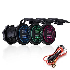 Недорогие Автомобильные зарядные устройства-P15-S сенсорный выключатель с кабелем питания 5 В 2.1a 2.1a Dual USB автомобильный модифицированный зарядное устройство мобильного телефона 12-24 В