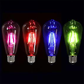 povoljno LED žarulje s nitima-4kom 4 W LED filament žarulje 360 lm E27 ST64 4 LED zrnca COB Ukrasno Božićni vjenčani ukrasi Crveno Plavo Zeleno 220-240 V