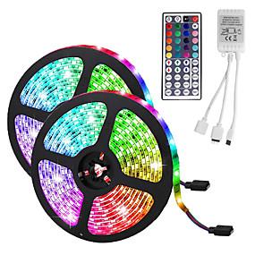 povoljno LED trakasta svjetla-LED traka svjetla (2 * 5m) 10m / 32,8ft 3528 rgb 600leds 8mm trake osvjetljenje fleksibilna promjena boje s 44 tipke ir daljinski idealan za kućnu kuhinju božićna stražnja svjetla dc 12v