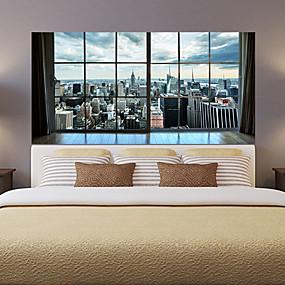 povoljno Ukrasne naljepnice-manhattan grad new york dnevna soba tv pozadina naljepnice za zid spavaća soba noćni ukras umjetnost ukras tapeta naljepnica 1 set 2pcs