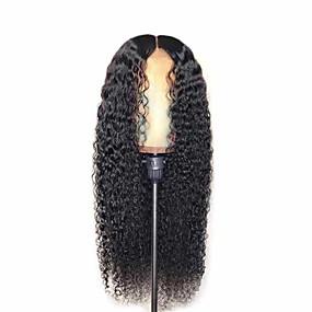 ieftine Sănătate & Înfrumusețare-Peruci Sintetice Mat Afro Kinky Partea centrală Perucă Foarte lung Negru Păr Sintetic 26 inch Pentru femei Partea Mijlocie curling Pufos Negru