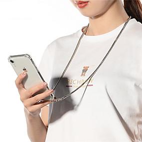 baratos Comprar por Modelo de Celular-Cabo de alça de corrente de metal colar de fita de telefone capa para iphone se 2020/11/11 pro / 11 pro max / x / xs / xr / xs max / 8plus / 8 / 7plus 7 / 6plus / 6 / 6splus / 6s capa transparente