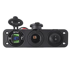 Недорогие Автоэлектроника-qc3.0 двойное зарядное устройство usb вольтметр 12 В гнездо прикуривателя сплиттер кнопка включения для автомобиля мотоцикла лодка грузовик