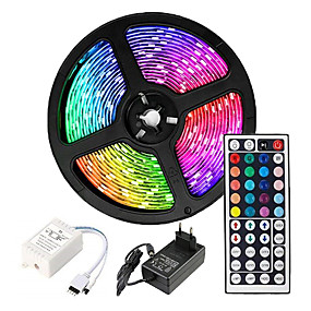 cheap LED Strip Lights-5m Flexible LED Strip Lights Light Sets RGB Tiktok Lights 2835 SMD 8mm RGB Remote Control RC Cuttable Dimmable 100-240 V Linkable Self-adhesive Color-Changing IP44
