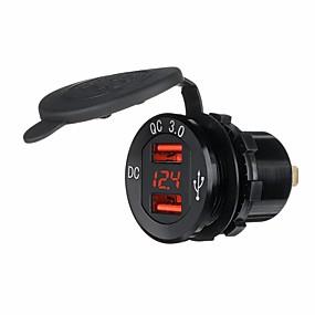 Недорогие Автомобильные зарядные устройства-водонепроницаемый двойной qc3.0 usb зарядка красный вольтметр адаптер гнездо супер быстрая зарядка для мотоцикла авто автомобиль
