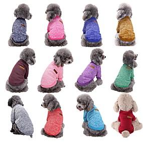 cheap Pet Supplies-Dog Sweater Stripes Winter Dog Clothes Purple Red Dark Purple Costume Woolen XS S M L XL