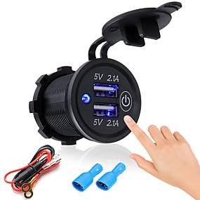Недорогие Автомобильные зарядные устройства-P2-S сенсорный выключатель 2.1a2.1a Dual USB автомобильный модифицированный зарядное устройство мобильного телефона 12-24 В