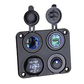 Недорогие Автомобильные зарядные устройства-qc3.0 12 В usb зарядное устройство вольтметр выключатель прикуриватель для автомобильной лодки морской