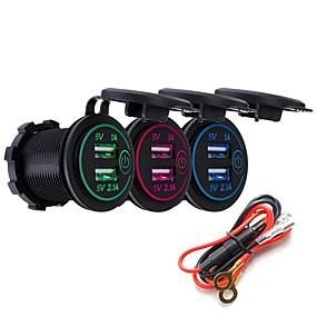 Недорогие Автомобильные зарядные устройства-P8-S сенсорный выключатель с шнуром питания 3.1a Dual USB автомобильный модифицированный зарядное устройство телефона 12-24 В