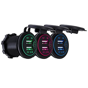 Недорогие Автомобильные зарядные устройства-P8-S сенсорный выключатель с терминалом 2.1a1a Dual USB автомобильный моторизованный дом модифицированный зарядное устройство телефона 12-24 В