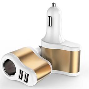 Недорогие Автомобильные зарядные устройства-2 в 1 прикуриватель автомобиля 3a Dual USB автомобильное зарядное устройство для мобильного телефона GPS MP3 / 4 КПК