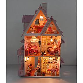 Недорогие Модели и игрушки-Кукольный домик Набор для конструирования Миниатюрные аксессуары для комнат Вилла Деревня Творчество Своими руками со светодиодной подсветкой Дерево Детские Взрослые Мальчики Девочки Игрушки Подарок