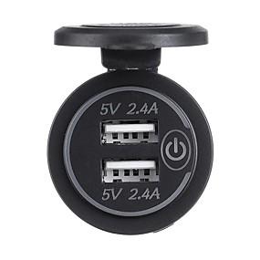 Недорогие Автомобильные зарядные устройства-P18-S сенсорный выключатель с терминалом 5 В 2.4a Dual USB автомобильный модифицированный зарядное устройство мобильного телефона 12-24 В