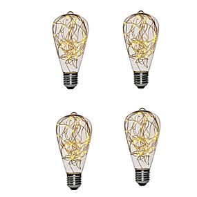 hesapli LED Filaman Ampuller-4 adet st64 sıcak beyaz bakır led çelenk tatil ışık yeni yıl noel ev dekorasyon peri ışıkları ampul için kapalı gece lambası