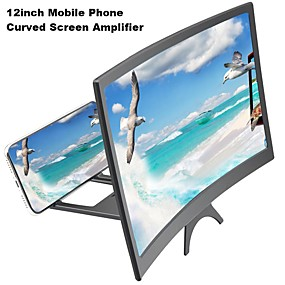 cheap Bedside-12inch New Mobile Phone Curved Screen Amplifier HD 3D Video Mobile Phone Magnifying Glass Stand Bracket Phone Foldable Holder