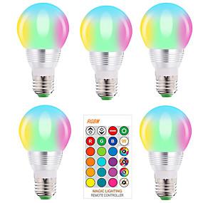 abordables Ampoules Intelligentes LED-5 pcs E27 E14 RGB LED Ampoule 5 W Dimmable 16 Changement de Couleur Magique Ampoule AC 220 V 110 V RGBW Blanc IR À Distance Veilleuse À Distance