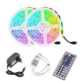 cheap LED Strip Lights-LED Strip Light (2*5M)10M 32.8ft 2835 RGB 600leds 8mm Strips Lighting Flexible Color Changing with 44 Key IR Remote Ideal for Home Kitchen Christmas TV Back Lights DC 12V