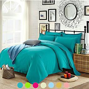 billige Tekstiler til hjemmet-solid farvet dynebetræk sæt med lynlås lukning, ultra blød hypoallergenisk 4 stykker dyne dækningssæt
