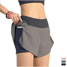 cheap Sportswear-INFLACHI Women's Running Shorts Athletic Bottoms with Phone Pocket 2 in 1 Liner Gym Workout Marathon Running Jogging Trail Training Lightweight Breathable Quick Dry Sport Black Blushing Pink Blue
