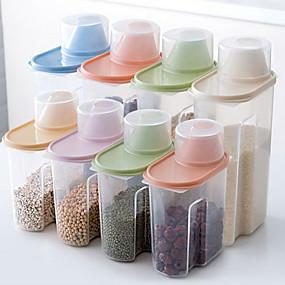 hesapli Saklama ve Organizasyon-Şeffaf tahıl tahıl mutfak depolama tankı 1 takım 4 adet 2.5l