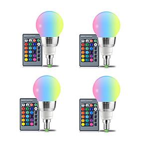 Недорогие Умные LED лампочки-4 шт. E27 светодиодная лампа 5 Вт RGBW белый 16 цвет светодиодная лампа AC85-265V сменный RGB лампы с функцией дистанционного управления памятью E14