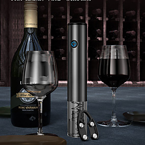 رخيصةأون المطبخ و السفرة-فتاحة النبيذ الكهربائية القابلة لإعادة الشحن زجاجة المفتاح التلقائي القابلة لإعادة الشحن مع قطع احباط USB كابل شحن الفولاذ